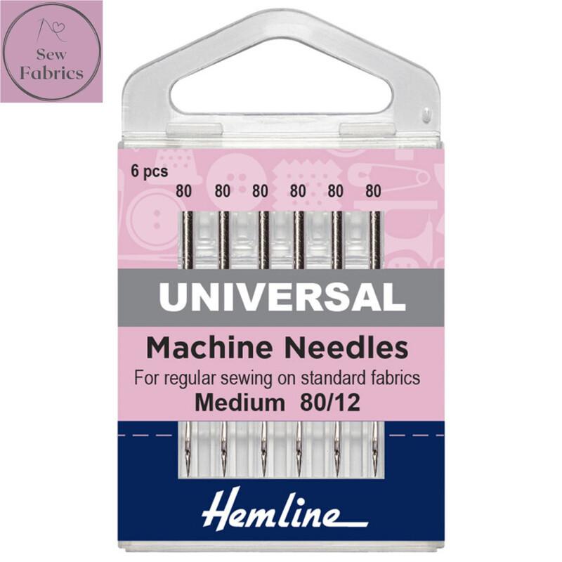Hemline Universal Sewing Machine Needles, Pack of 5 Medium needles, size 80/12