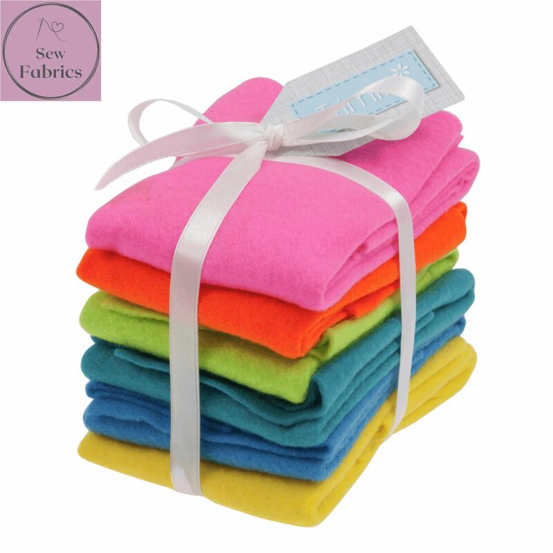 Bright Felt Sheet Pack -6 Sheets, Assorted Colours, 30 x 23cm, Craft Felt