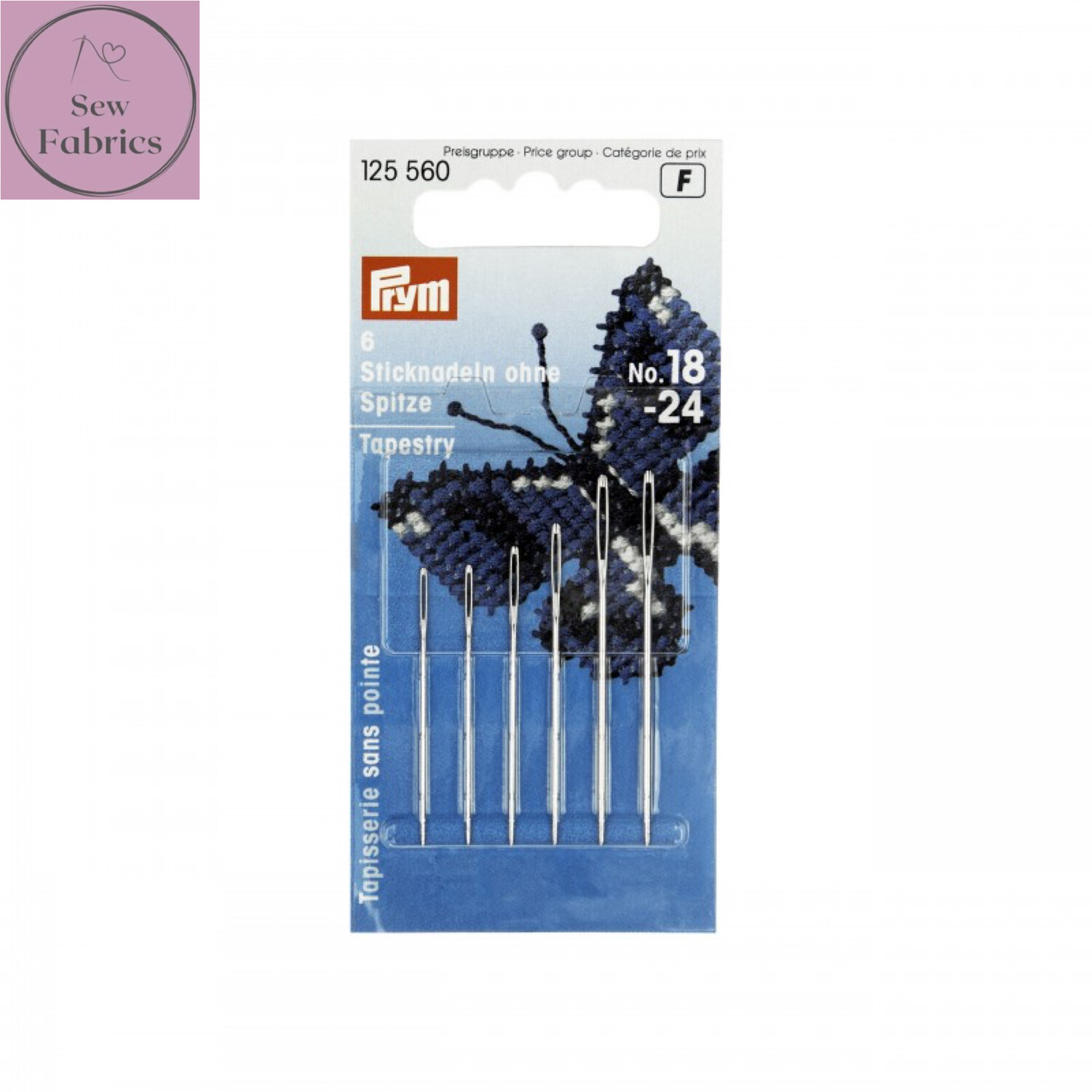 Prym Embroidery Assorted Needles Tapestry blunt point No. 18-24 silver colour with gold eye
