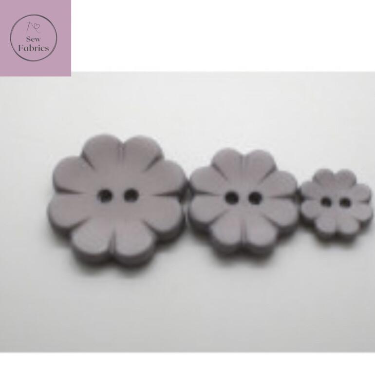 15mm 2 Hole Grey Matt Flower Button
