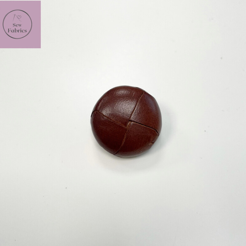 23mm Brown Leather Shank Button