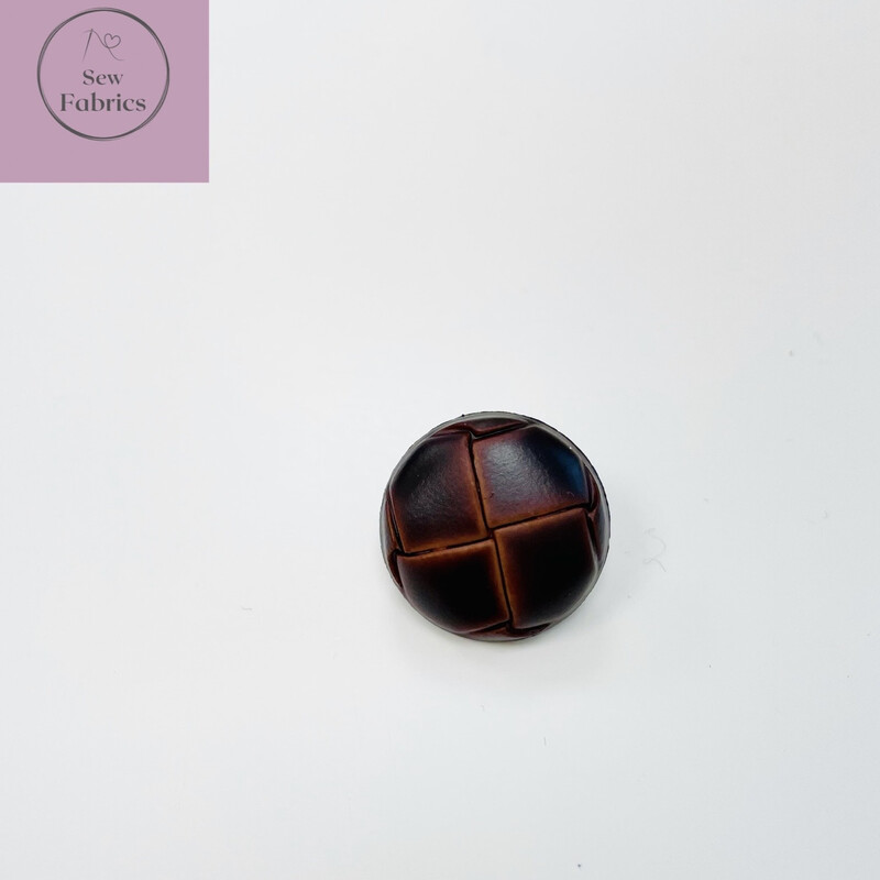 18mm Brown Leather Look Shank Button
