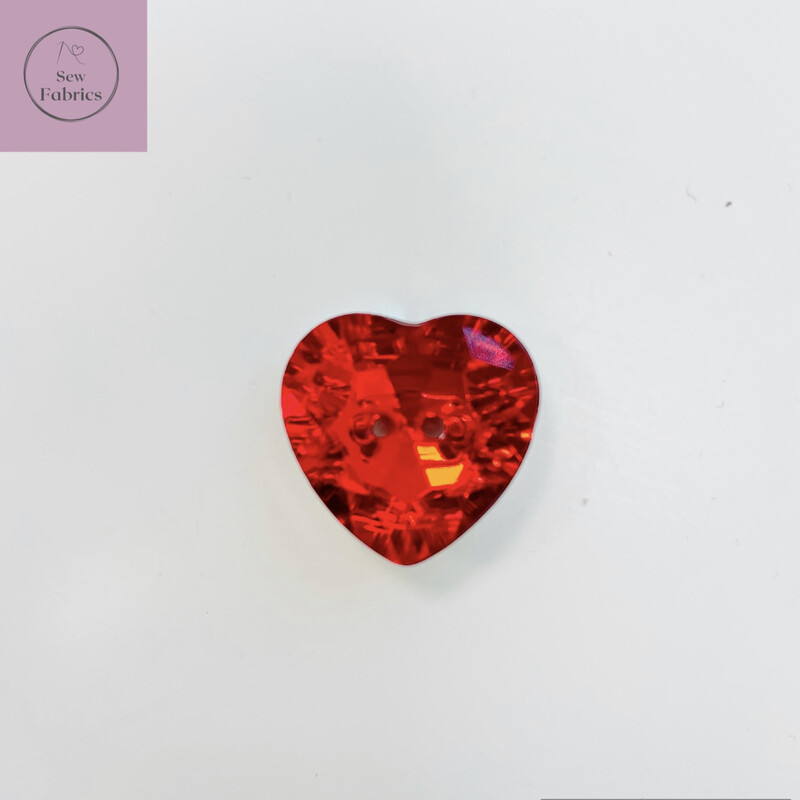 20mm Red Acrylic Crystal Heart Button