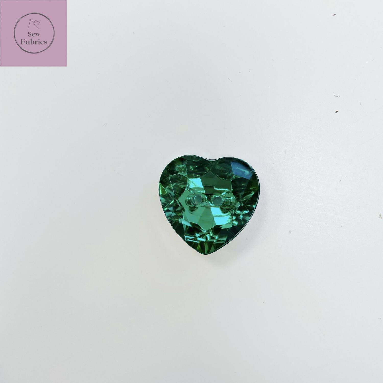 20mm Green Acrylic Crystal Heart Button