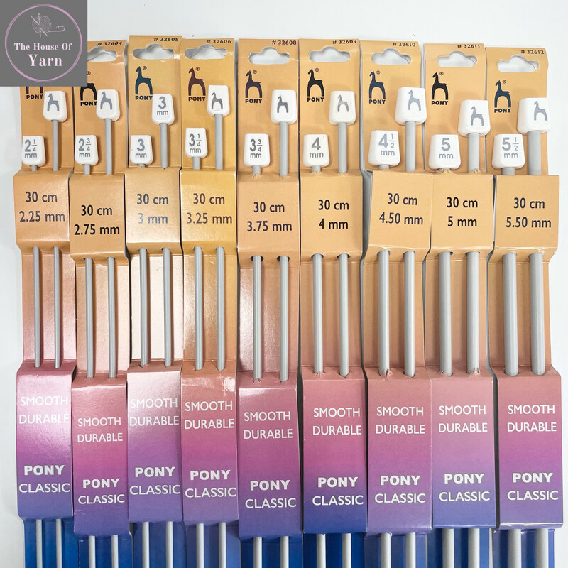 Pony Single Ended Aluminium Knitting Pins / Needles, 30cm - Sizes 2.25 - 5.5mm