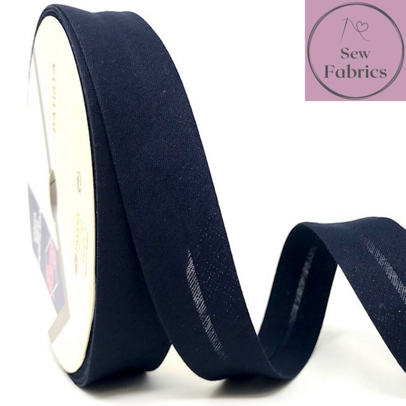 Navy Blue Plain Polycotton Bias Binding 30mm Col 22, available by the metre or reel