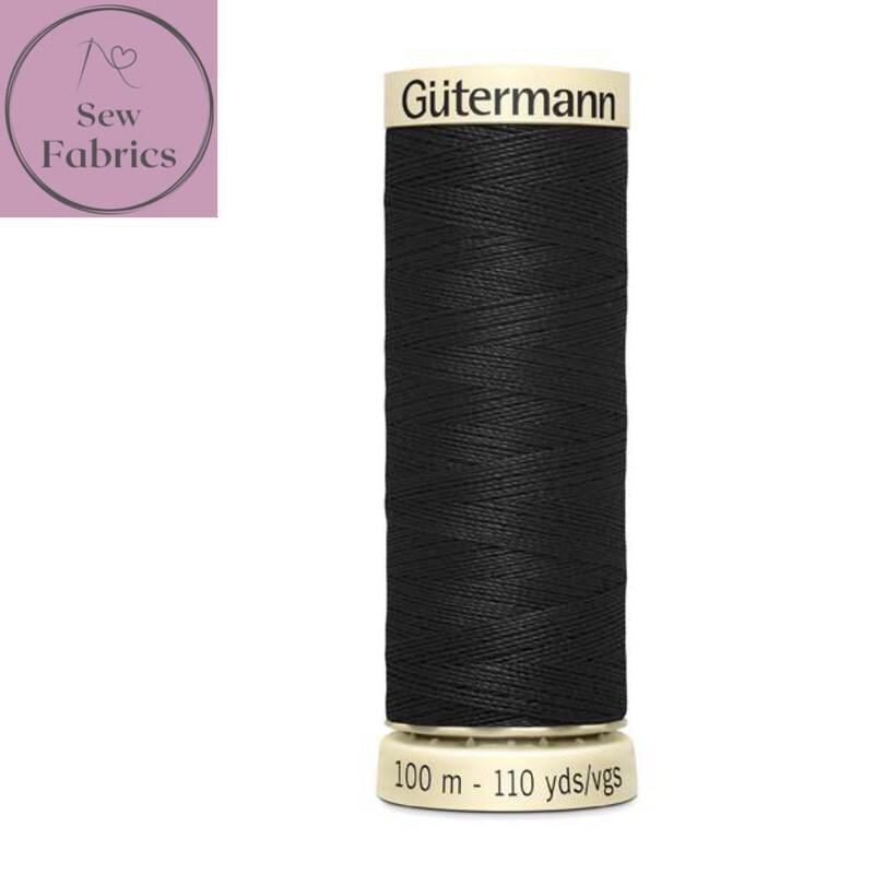 Black Gutermann Sew All 100% Polyester Thread 100mts / 110yds Spool