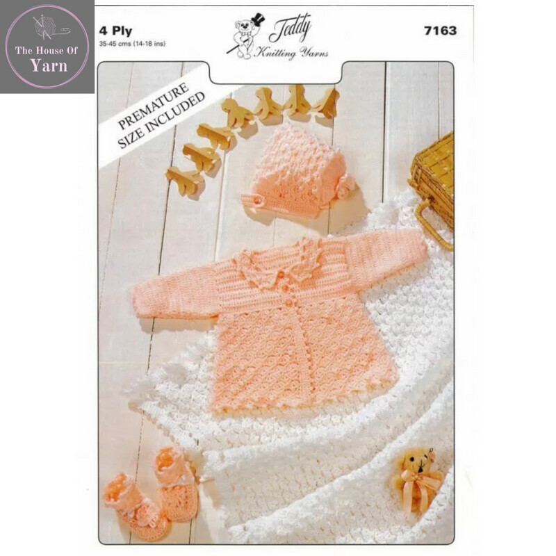 Teddy Crochet Pattern 4 Ply Baby Matinee Jacket, Bonnet, Booties and Shawl Set - Pattern 7163, Premature size included