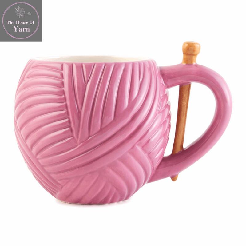 Pink Yarn Ball Design Sewing Boxed Gift Mug, Wool Novelty Knitting, Crochet Gift