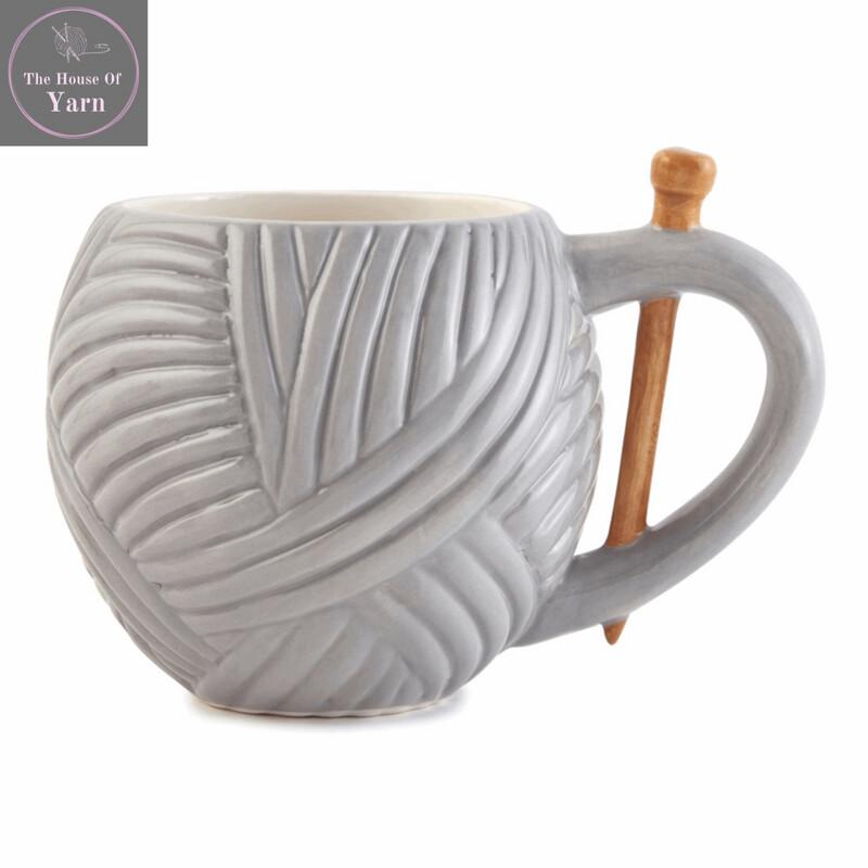 Grey Yarn Ball Design Sewing Boxed Gift Mug, Wool Novelty Knitting, Crochet Gift
