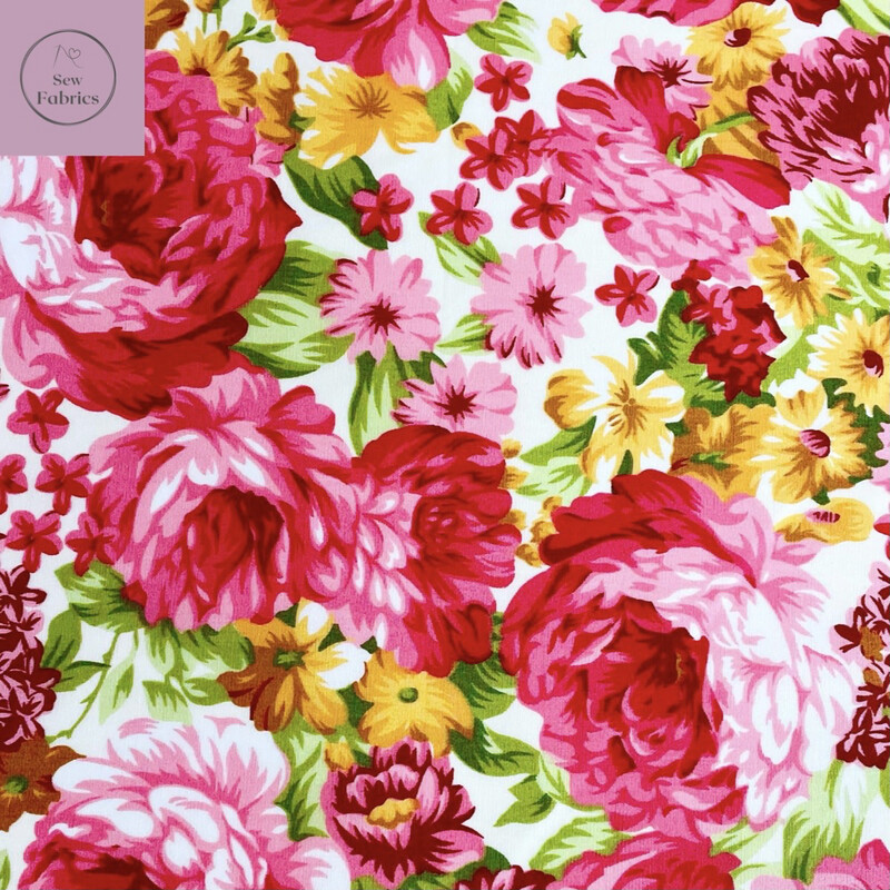 Rose & Hubble Large Pink Blooms 100% Cotton Poplin Floral Fabric