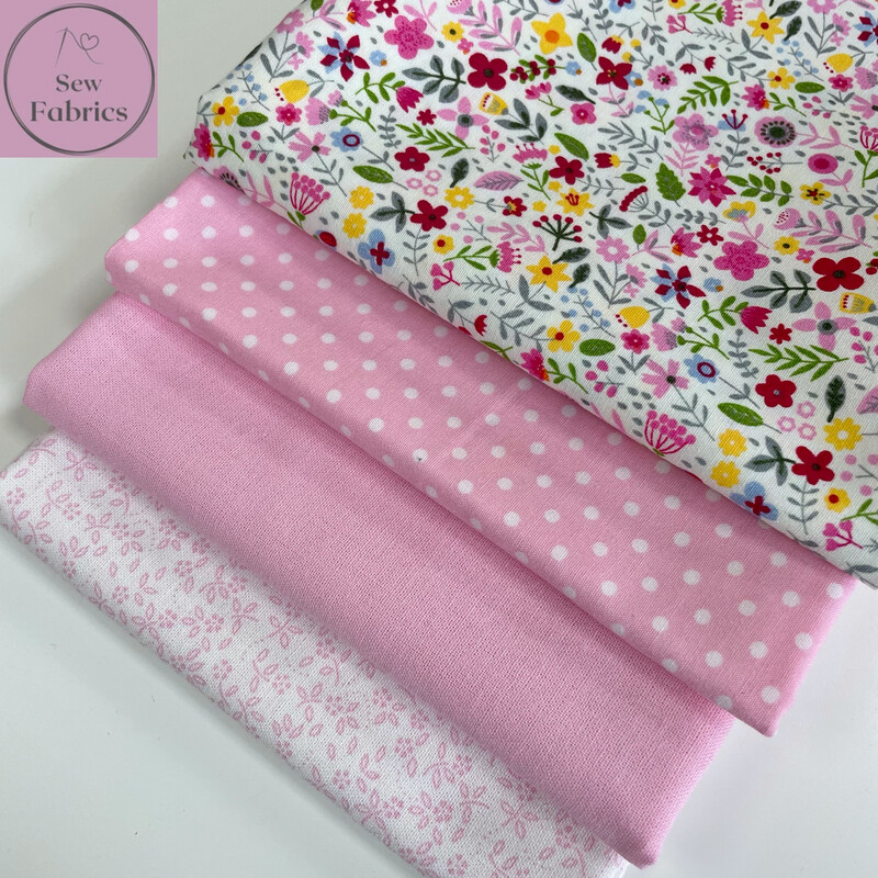 Fat Quarter Bundle, 100% Cotton & Cotton Poplin Pink Fabric Floral Design 4 piece.