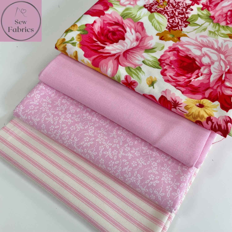 Fat Quarter Bundle, 100% Cotton & Cotton Poplin Large Pink Peony Fabric Floral Design 4 piece.