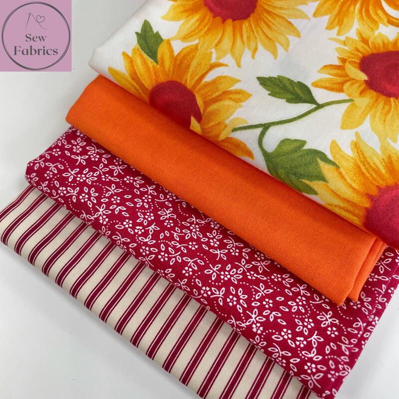 Fat Quarter Bundle, 100% Cotton & Cotton Poplin Ivory Sunflower Fabric Floral Design 4 piece.