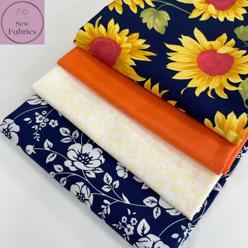 Fat Quarter Bundle, 100% Cotton & Cotton Poplin Navy Sunflower Fabric Floral Design 4 piece.