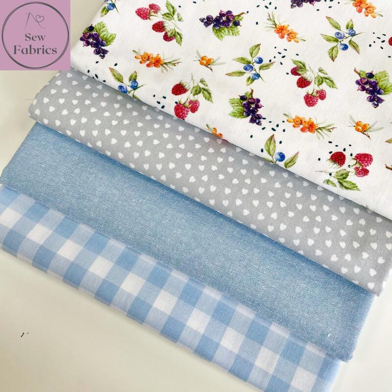 Fat Quarter Bundle, 100% Cotton Wide Width Blue Berries Fabric Floral Design 4 piece.