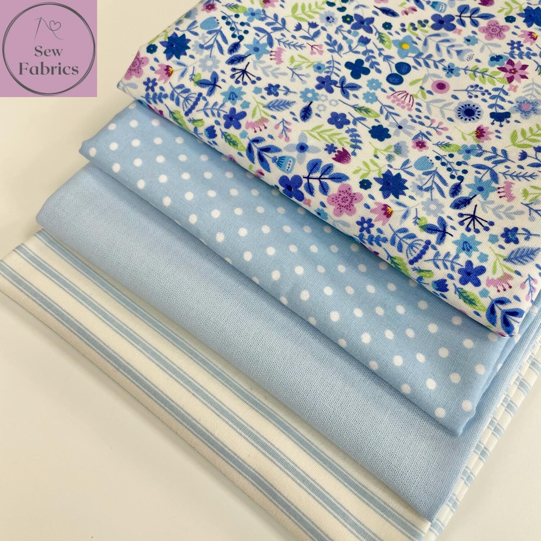 Fat Quarter Bundle, 100% Cotton & Cotton Poplin Blue Fabric Floral Design 4 piece.