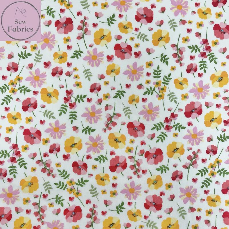 Rose & Hubble Sweet Autumn 100% Cotton Poplin Floral Fabric