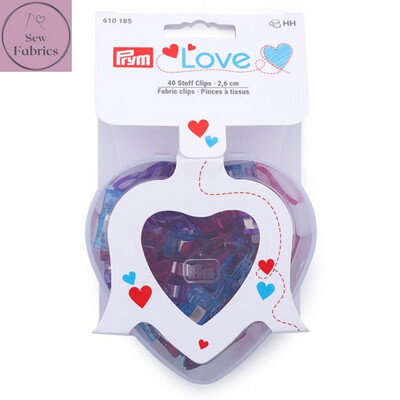 Prym Love Fabric Clips 2.6cm - 40 Pieces Assorted Colours in Heart Shaped Box