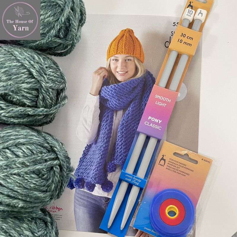 King Cole Wrap Hat & Scarf Pattern 5549 Complete Knitting Kit including all required yarn and knitting accessories