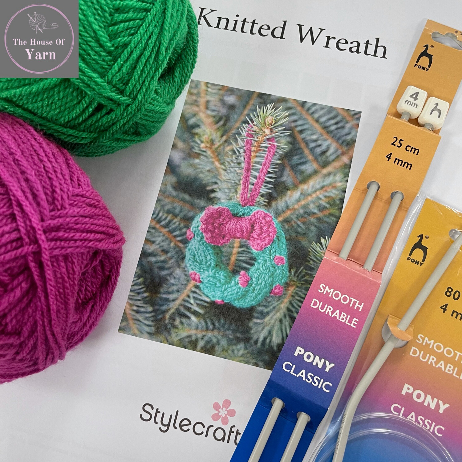 Stylecraft Christmas Wreath Decoration Complete Knitting Kit including all required yarn and knitting accessories PLUS FREE PATTERN