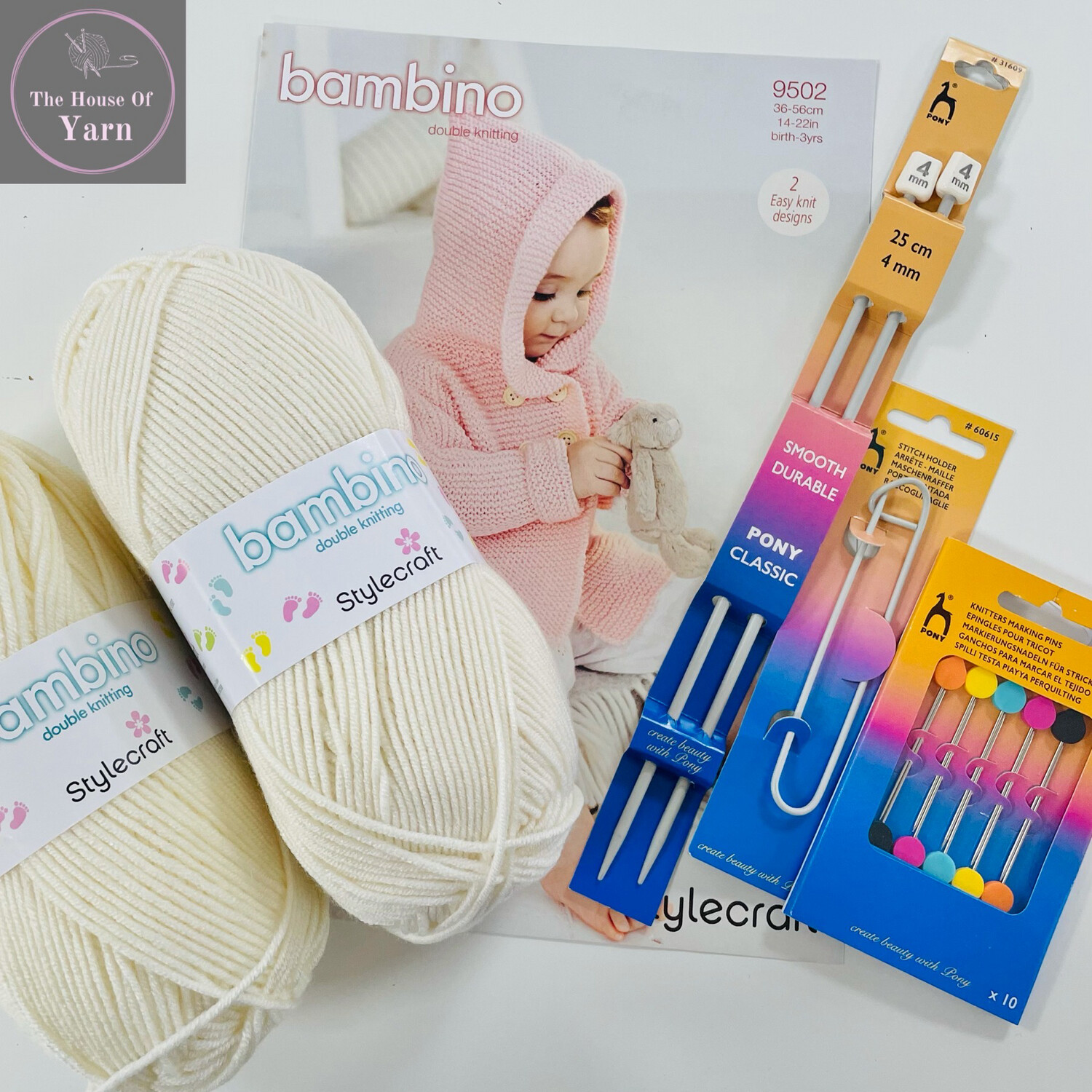 Stylecraft Bambino DK Pattern 9502 Coats 0-3 years Complete Knitting Kit including all required yarn and knitting accessories
