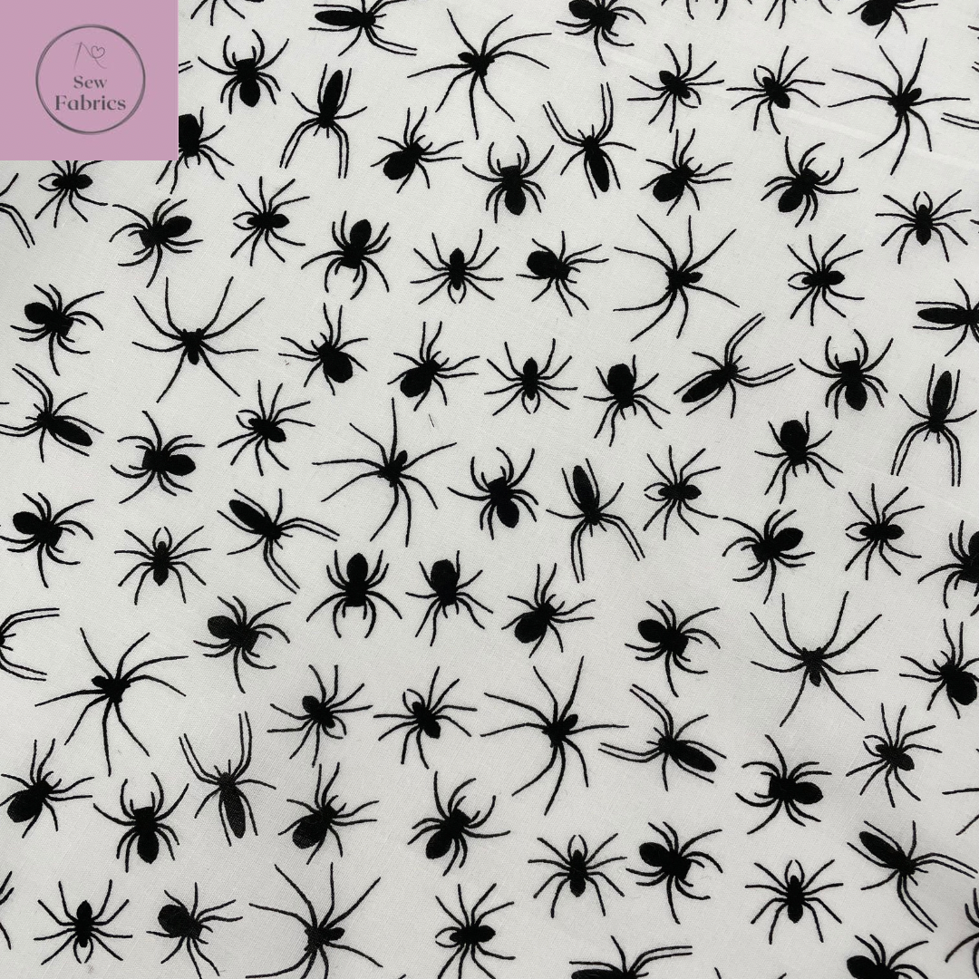 1 mtr x Black on White Background Spider Novelty Print Polycotton Fabric, Halloween Material