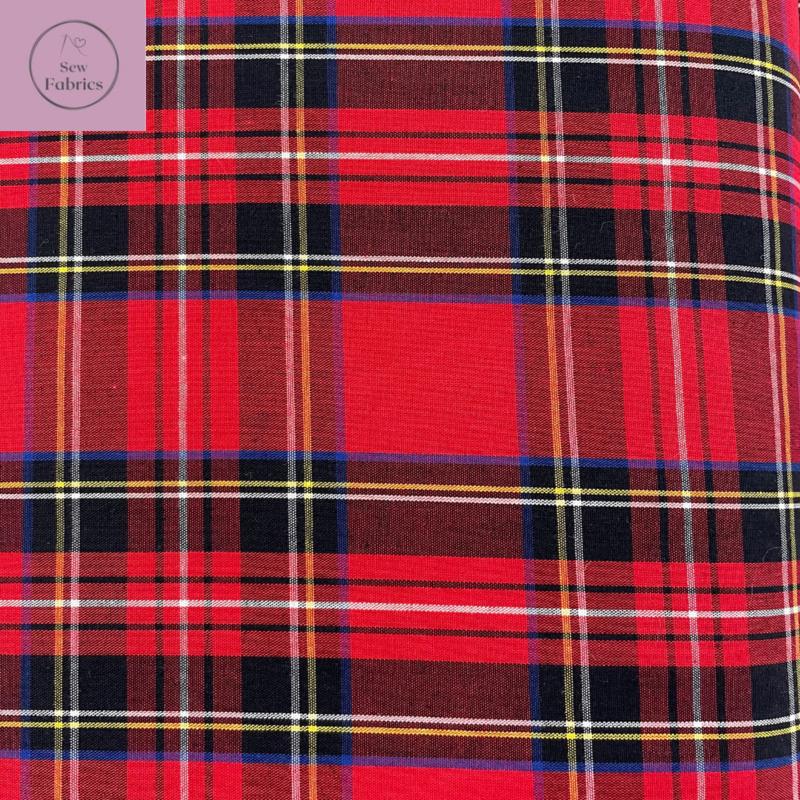 Royal Stewart Tartan 100% Cotton Fabric, Red Material