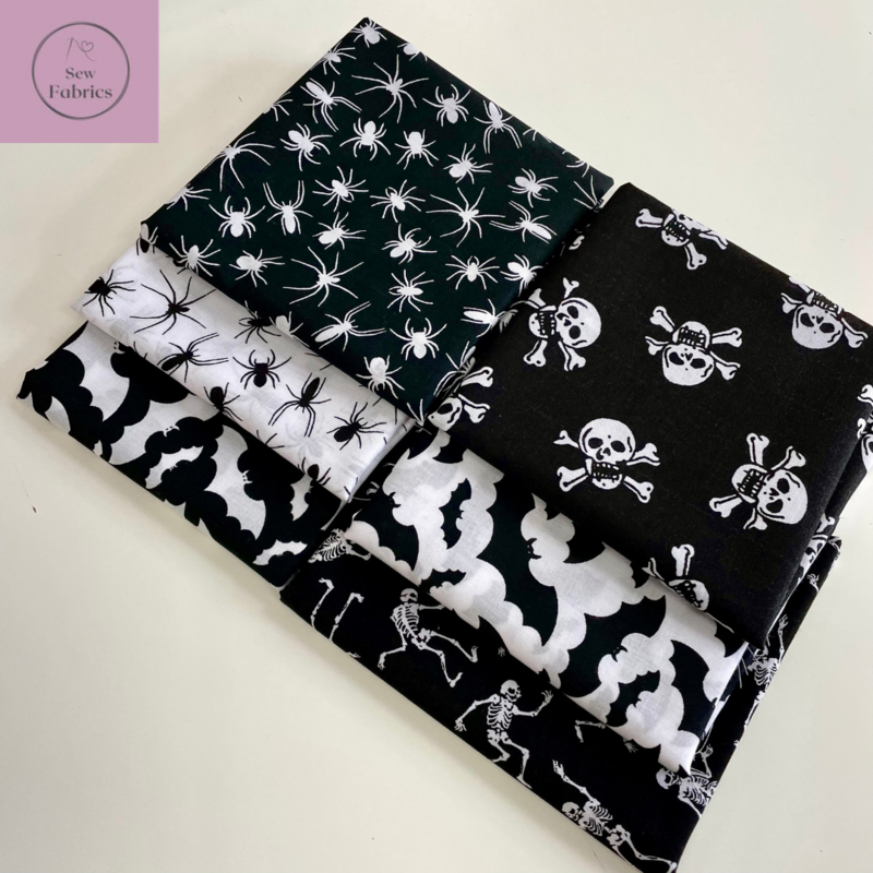 6 x Fat Quarter Halloween Bundle Black and White Skull and Crossbones, Skeleton, Spider and Bat Novelty Print Polycotton Fabric, Halloween Material