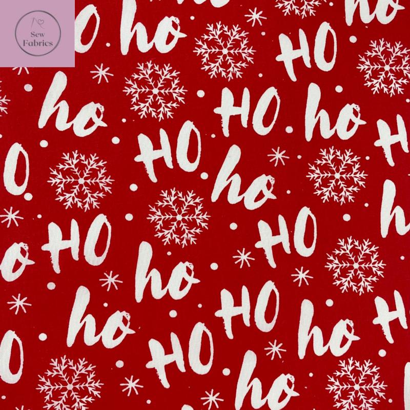 1 mtr x Red Christmas Ho Ho Ho Print Polycotton Fabric Xmas, Festive Material