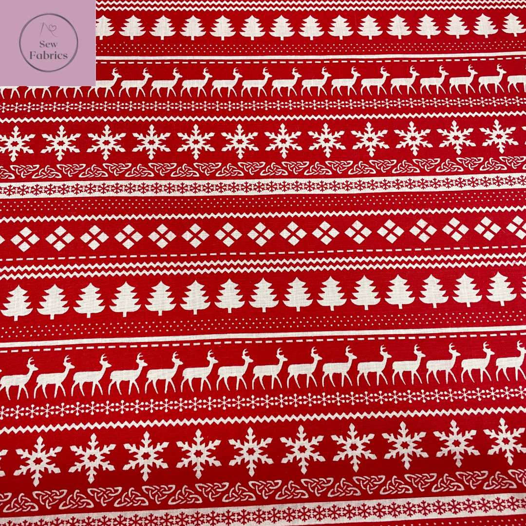1 mtr x Red Christmas Scandi Print Polycotton Fabric Xmas, Festive Material