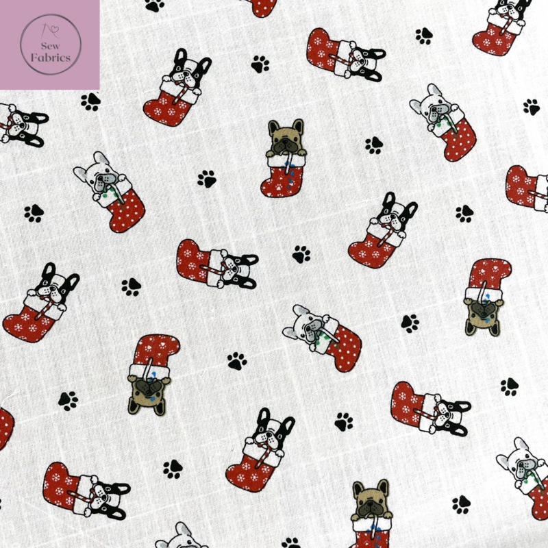 1 mtr x White Puppy Dog in Christmas Stocking Print Polycotton Fabric Xmas, Festive Material