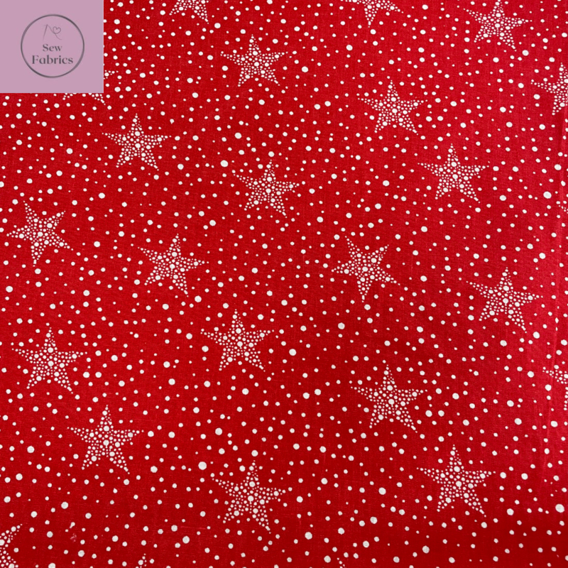 1 mtr x Red Christmas Stars Print Polycotton Fabric Xmas, Festive Material