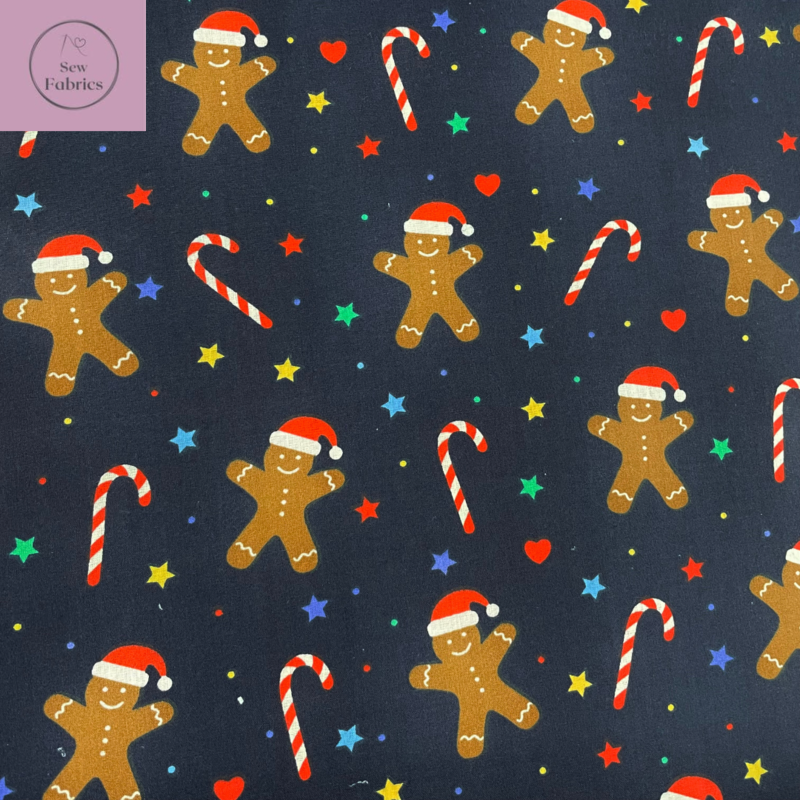 1 mtr x Navy Blue Christmas Gingerbread Man and Candy Cane Print Polycotton Fabric Xmas, Festive Material