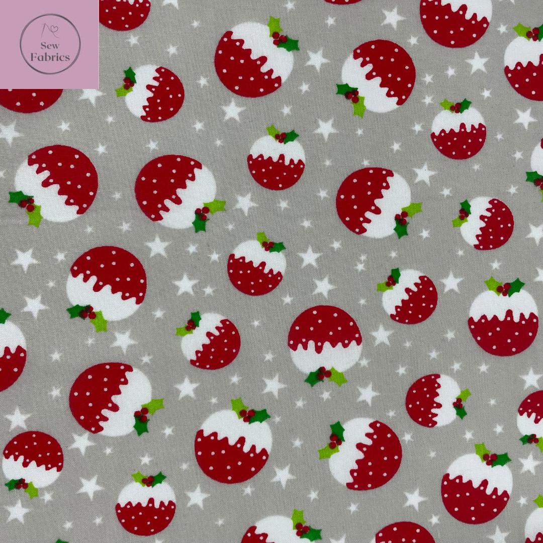 1 mtr x Silver Grey Christmas Pudding Print Polycotton Fabric Xmas, Festive Material