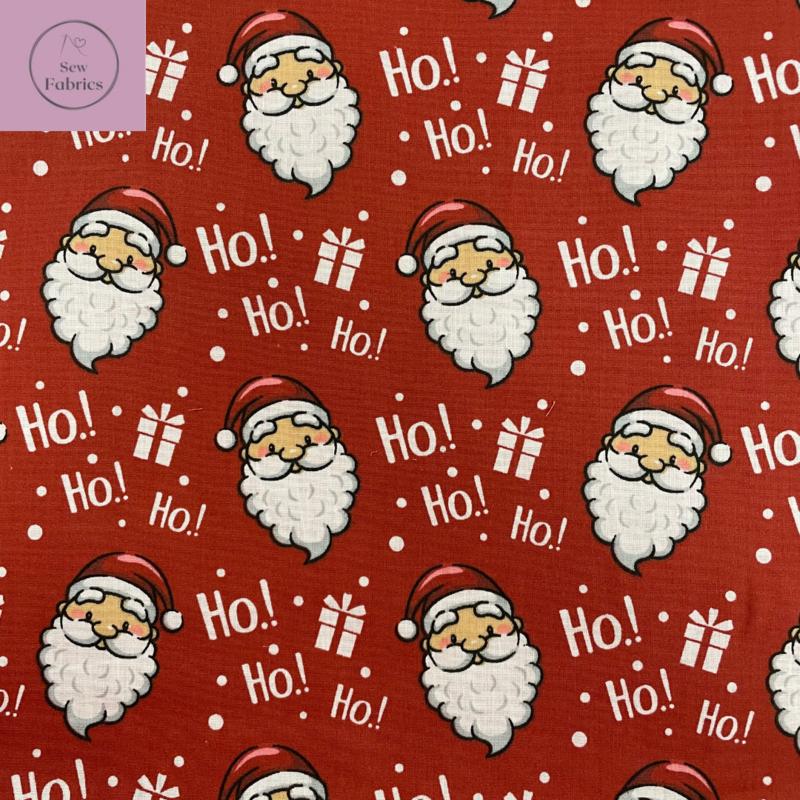 1 mtr x Red Father Christmas Santa Print Polycotton Fabric Xmas, Festive Material
