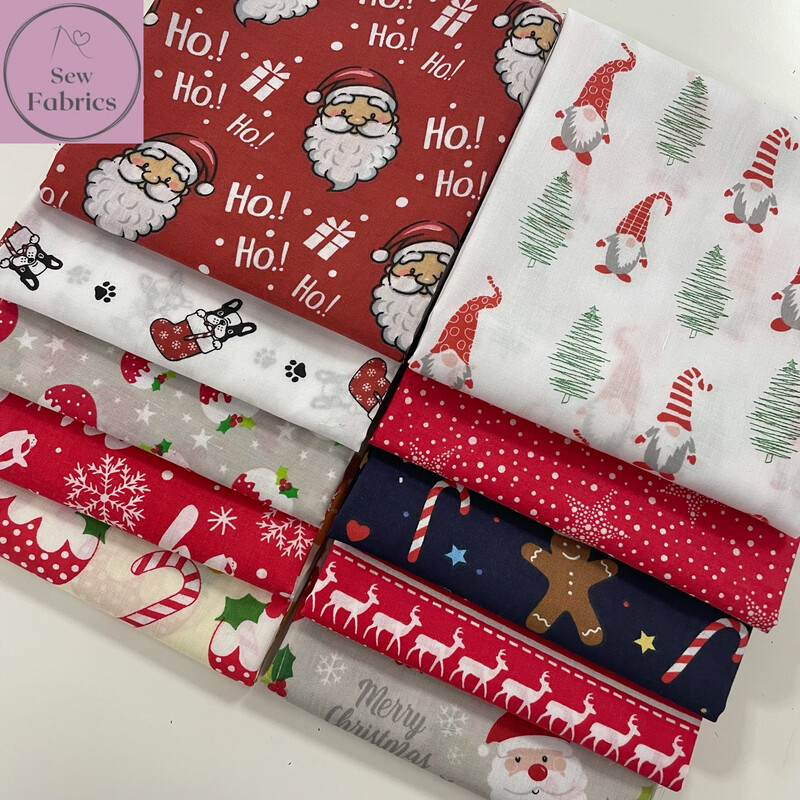 10 x Fat Quarter Christmas Bundle Novelty Print Polycotton Fabric, Xmas Material