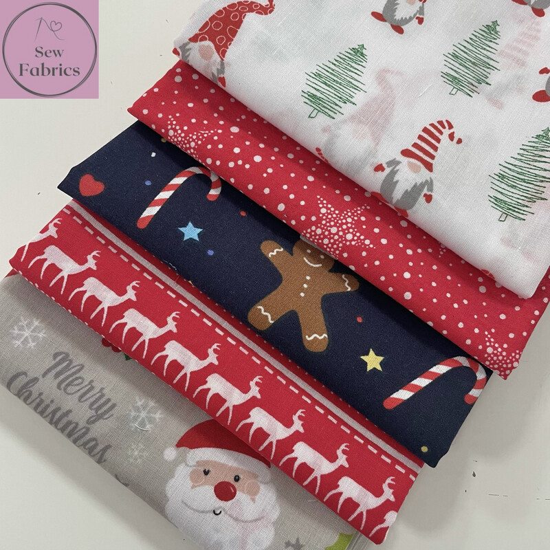 5 x Fat Quarter Christmas Bundle Novelty Print Polycotton Fabric, Xmas Material