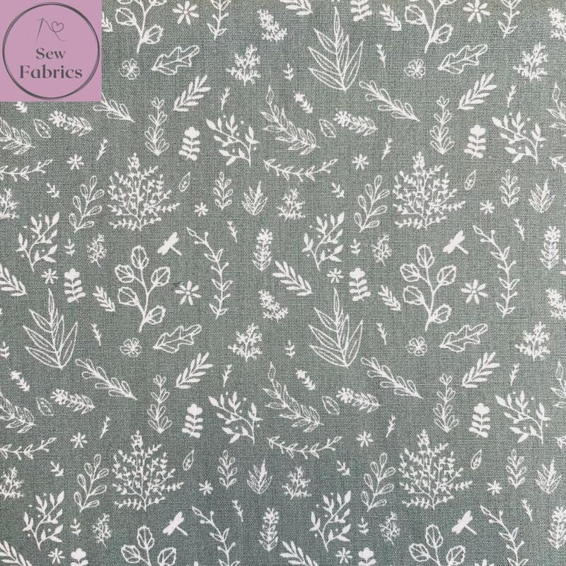 "John Louden Sage Wild Meadow Fabric 100% Cotton, 57""/145cm Width"