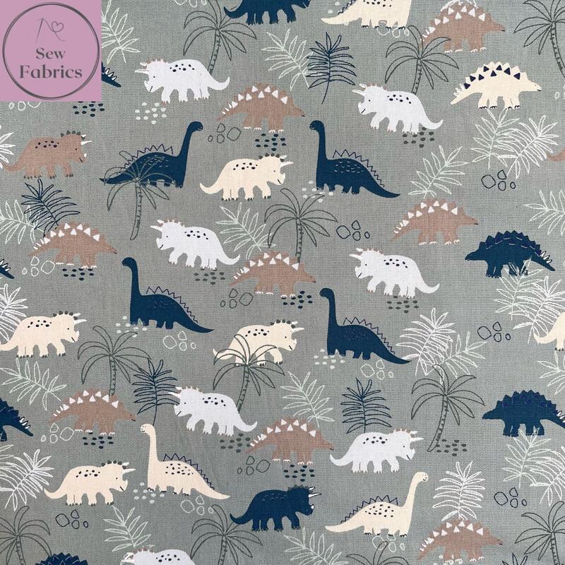 "John Louden Sage Green Dinosaur Fabric 100% Cotton, 57""/145cm Width"