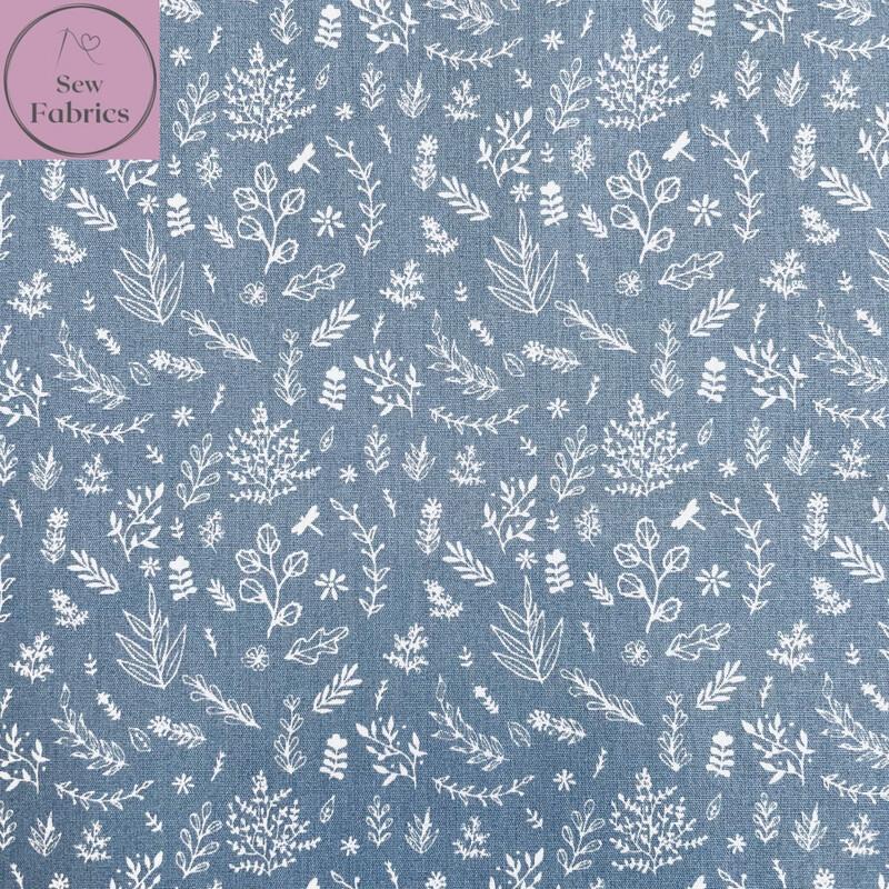 """John Louden Sea Blue Wild Meadow Fabric 100% Cotton, 57""""/145cm Width"""