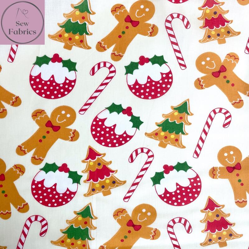 1 mtr x Cream Christmas Pudding Candy Cane Gingerbread Man Print Polycotton Fabric Xmas, Festive Material