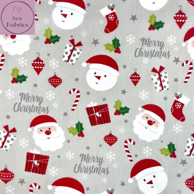1 mtr x Silver Grey Santa, Christmas Stocking, Snowman, Candy Cane, Merry Christmas Print Polycotton Fabric Xmas, Festive Material