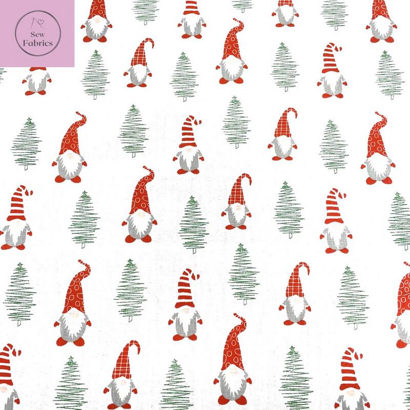 1 mtr x White Gonk Christmas Print Novelty Polycotton Fabric Xmas, Gnome Festive Material