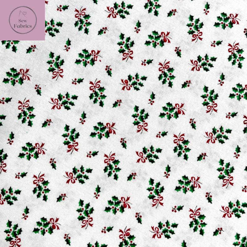 John Louden White Holly Bouquet Christmas Print 100% Cotton, Xmas Material