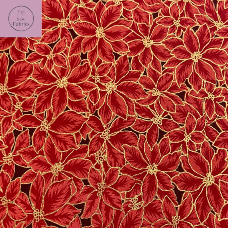 John Louden Red Poinsetta Christmas Metallic Foil Print 100% Cotton, Xmas Material