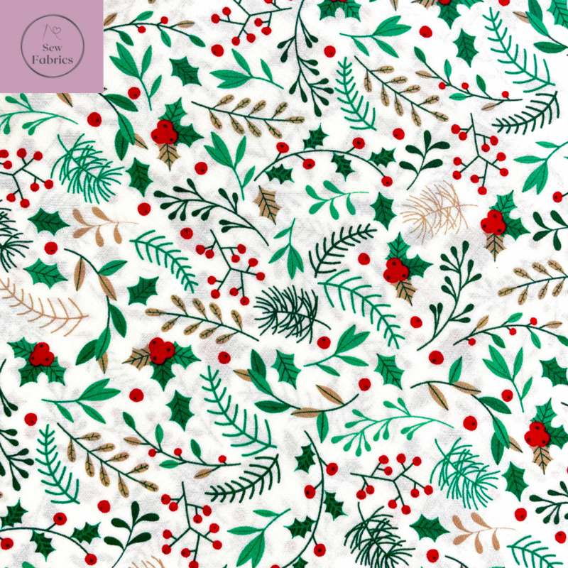 Rose and Hubble Ivory Sprig of Holly Berry Christmas Print 100% Cotton, Xmas Material
