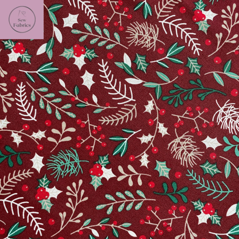 Rose and Hubble Red Wine Sprig of Holly Berry Christmas Print 100% Cotton, Xmas Material