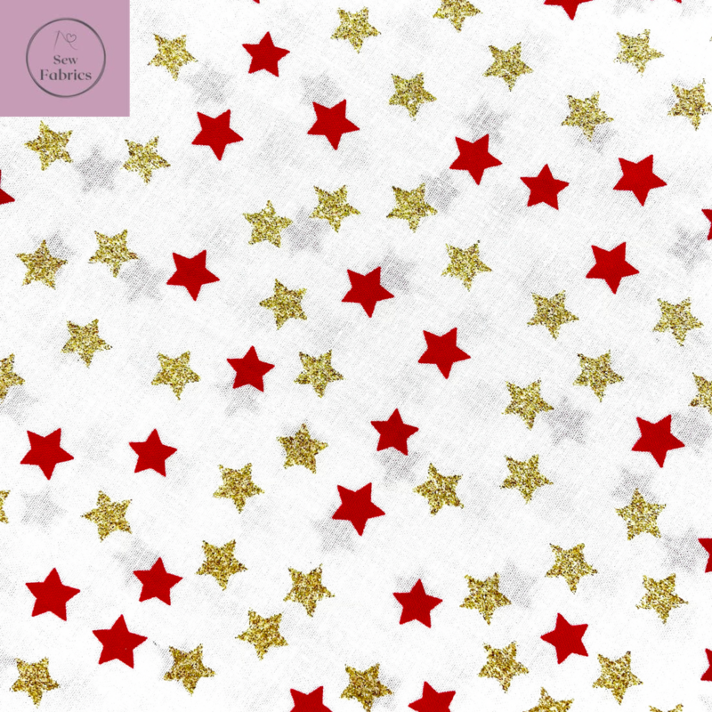 Rose and Hubble Ivory with Red and Gold Metallic Stars Christmas Print 100% Cotton, Xmas Festive Material
