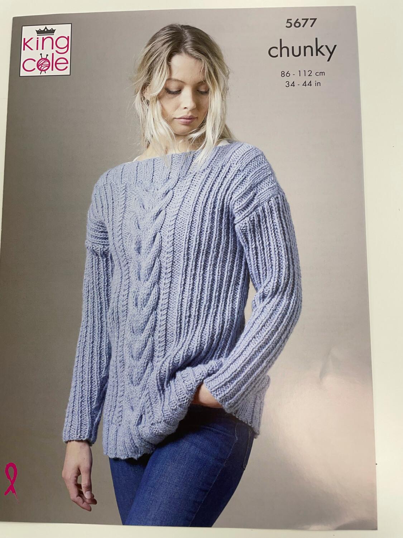 King Cole Sweater & Cardigan - Chunky Women's Pattern 5677